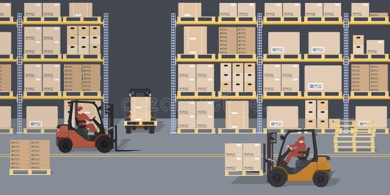 Σκηνή αποθηκών εμπορευμάτων Αποθήκη και forklifts Ράφια με τα κιβώτια και τα εμπορευματοκιβώτια Λογιστική διαδικασία Βιομηχανική  διανυσματική απεικόνιση