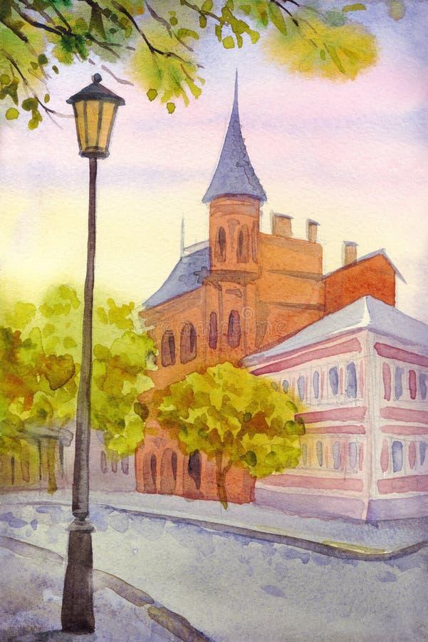 Σκηνή εικονικής παράστασης πόλης Watercolor ελεύθερη απεικόνιση δικαιώματος