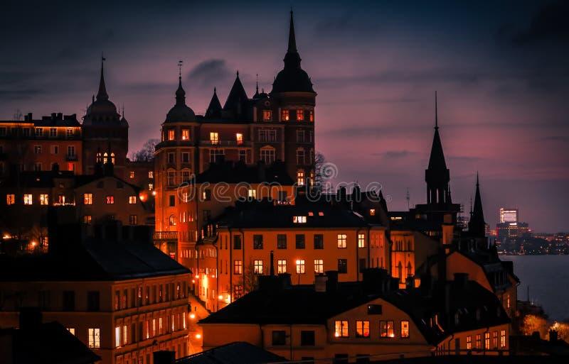 Σκηνή ηλιοβασιλέματος λυκόφατος της Στοκχόλμης, Σουηδία στοκ φωτογραφίες