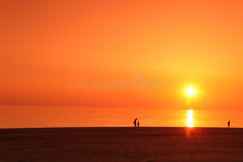 Σκηνή θάλασσας scape στον ωκεανό, ωκεάνιο ηλιοβασίλεμα παραλιών στοκ εικόνα με δικαίωμα ελεύθερης χρήσης