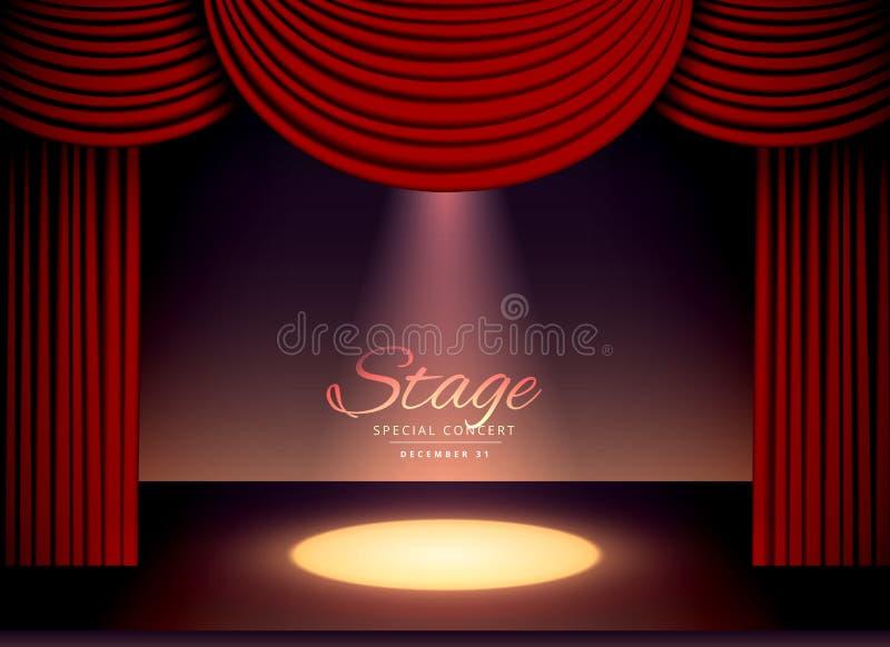 Σκηνή θεάτρων με τις κόκκινες κουρτίνες και το μειωμένο φως σημείων ελεύθερη απεικόνιση δικαιώματος