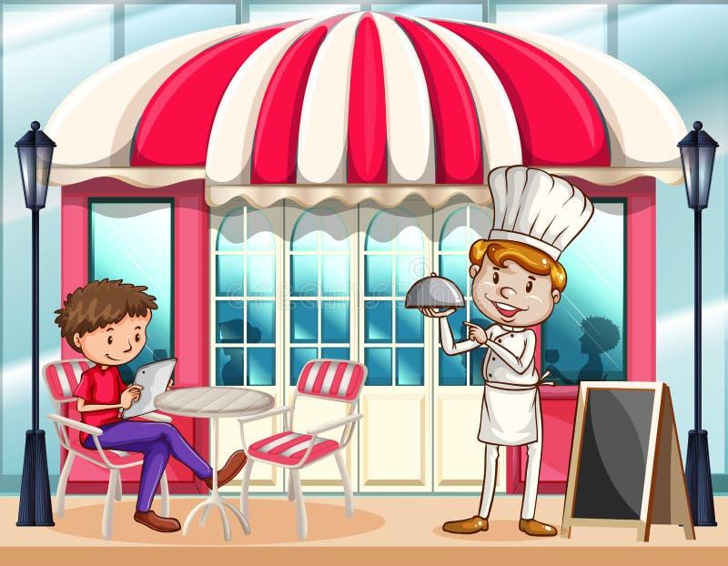 Σκηνή καφέδων με τον αρχιμάγειρα και τον πελάτη διανυσματική απεικόνιση