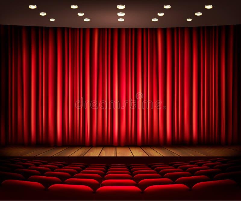 Σκηνή κινηματογράφων ή θεάτρων με μια κουρτίνα απεικόνιση αποθεμάτων