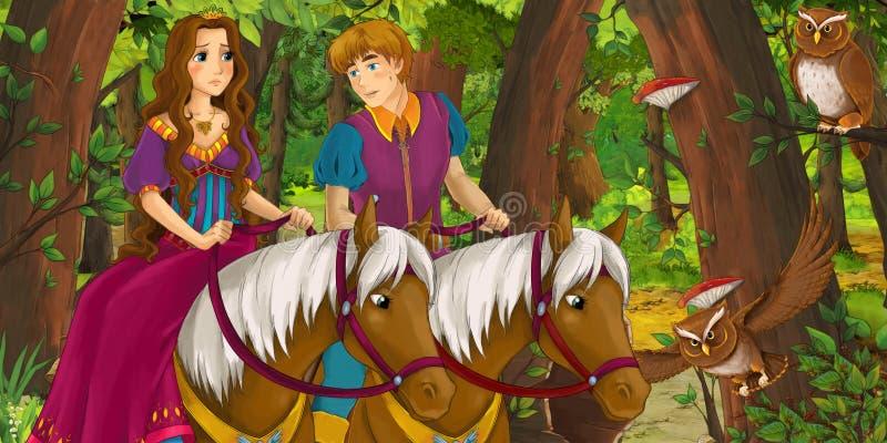 Σκηνή κινούμενων σχεδίων με την ευτυχή νέα πριγκήπισσα πριγκήπων και κοριτσιών αγοριών που οδηγά στο άλογο ανά το δασικό ζευγάρι  διανυσματική απεικόνιση