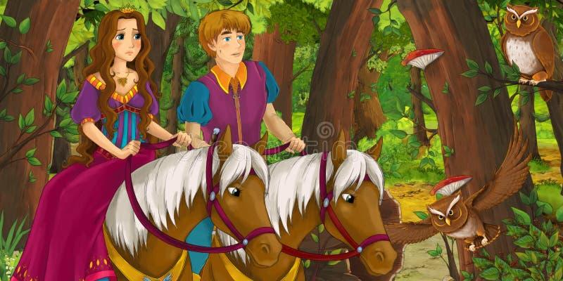 Σκηνή κινούμενων σχεδίων με την ευτυχή νέα πριγκήπισσα πριγκήπων και κοριτσιών αγοριών που οδηγά στο άλογο ανά το δασικό ζευγάρι  ελεύθερη απεικόνιση δικαιώματος