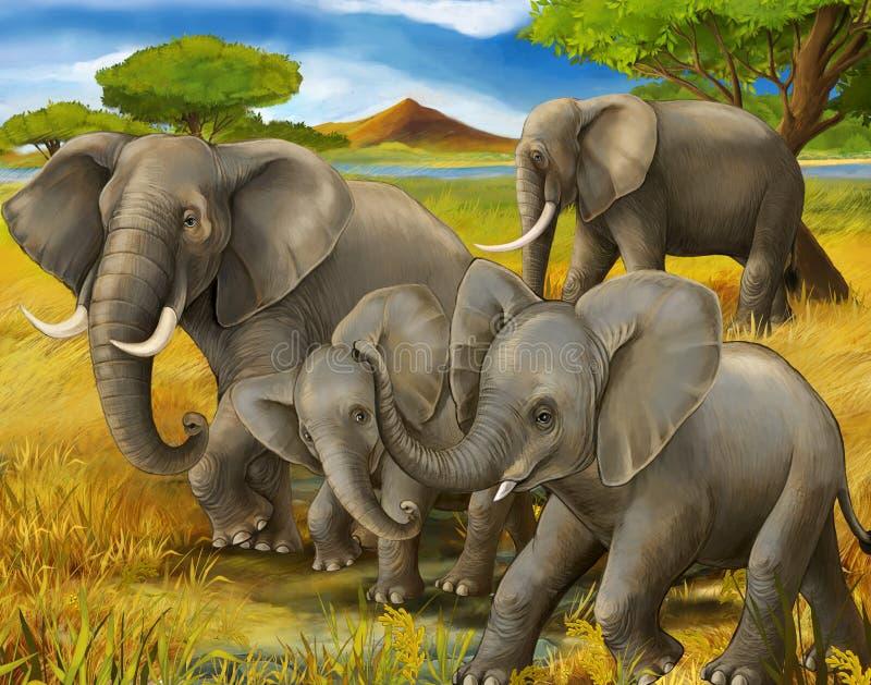 Σκηνή κινούμενων σχεδίων με την οικογένεια του σαφάρι ελεφάντων διανυσματική απεικόνιση