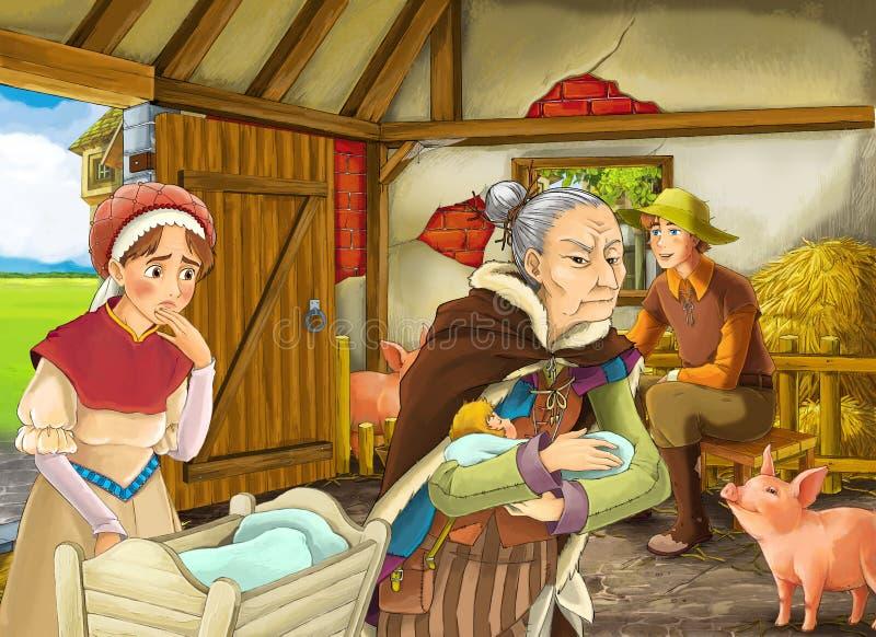 Σκηνή κινούμενων σχεδίων με τη μάγισσα ηλικιωμένων γυναικών ή τη μάγισσα και τον αγρότη rancher στο χοιροστάσιο σιταποθηκών απεικόνιση αποθεμάτων