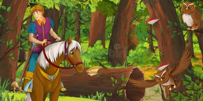 Σκηνή κινούμενων σχεδίων με τον ευτυχή νέο πρίγκηπα αγοριών που οδηγά στο άλογο ανά το δασικό ζευγάρι αντιμετώπισης του πετάγματο διανυσματική απεικόνιση