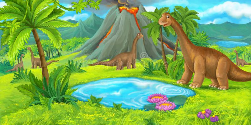Σκηνή κινούμενων σχεδίων με τους ευτυχείς δεινοσαύρους - nevolcano diplodocus - απεικόνιση για τα παιδιά διανυσματική απεικόνιση