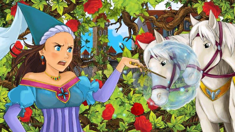 Σκηνή κινούμενων σχεδίων της όμορφης πριγκήπισσας ή της μάγισσας στον κήπο ελεύθερη απεικόνιση δικαιώματος