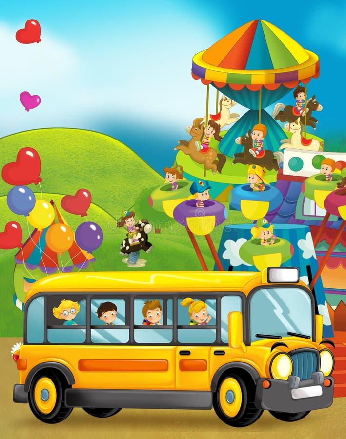 Σκηνή κινούμενων σχεδίων των παιδιών που παίζουν στο funfair και το σχολικό λεωφορείο στο ταξίδι απεικόνιση αποθεμάτων