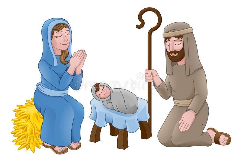 Σκηνή κινούμενων σχεδίων Χριστουγέννων Nativity ελεύθερη απεικόνιση δικαιώματος