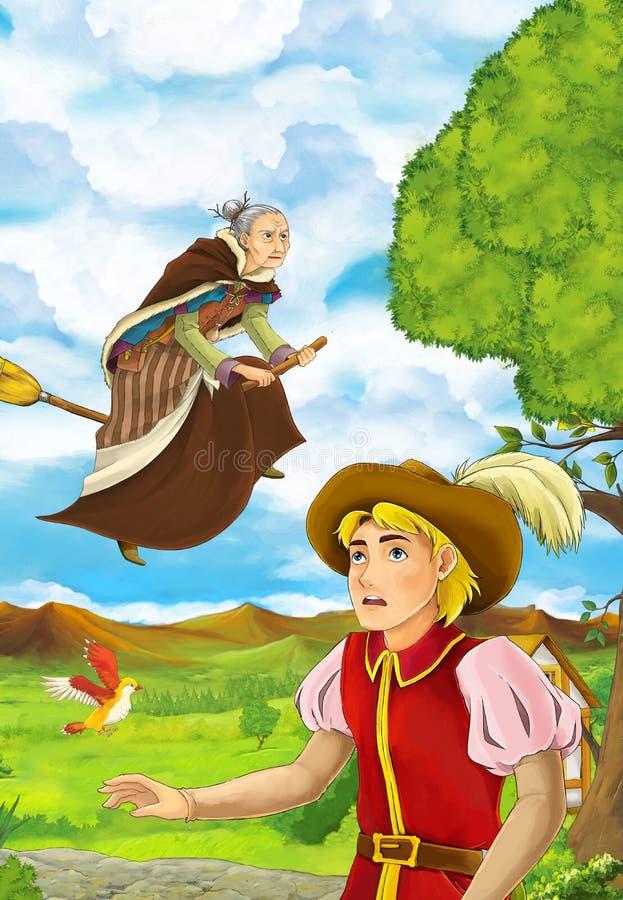 Σκηνή κινούμενων σχεδίων με το νεαρό άνδρα που περπατά σε κάποιο κήπο - μάγισσα πετά πέρα από τον - όμορφο άτομο απεικόνιση αποθεμάτων
