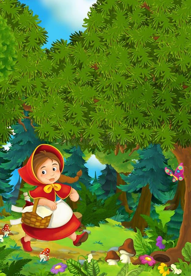 Σκηνή κινούμενων σχεδίων σε ένα ευτυχές κορίτσι μέσα στο ζωηρόχρωμο δάσος ελεύθερη απεικόνιση δικαιώματος