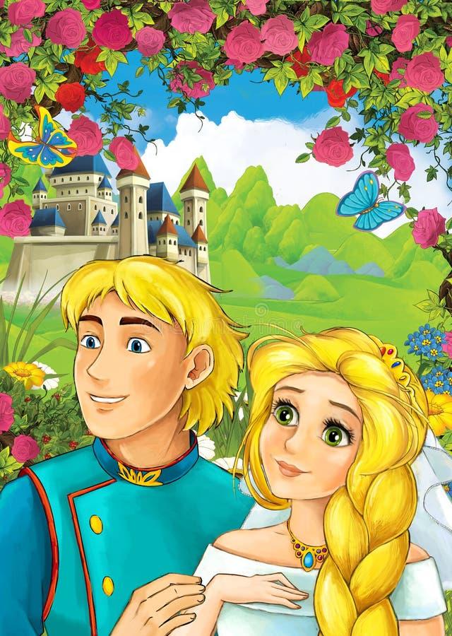 Σκηνή κινούμενων σχεδίων της αγάπης του ζεύγους - πρίγκηπας και πριγκήπισσα - κάστρο στο υπόβαθρο - για τα διαφορετικά παραμύθια ελεύθερη απεικόνιση δικαιώματος
