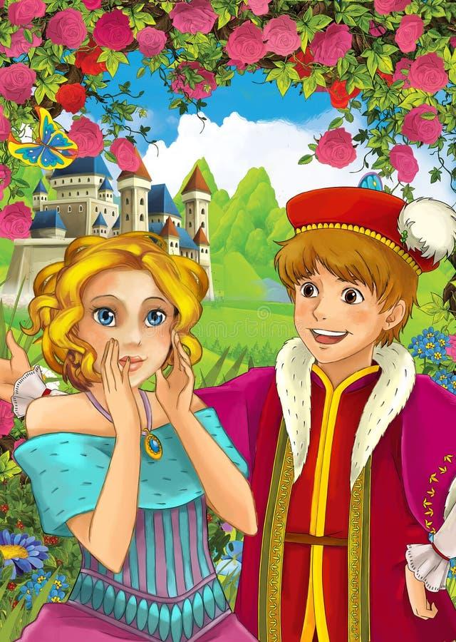 Σκηνή κινούμενων σχεδίων της αγάπης του ζεύγους - πρίγκηπας και πριγκήπισσα - κάστρο στο υπόβαθρο - για τα διαφορετικά παραμύθια διανυσματική απεικόνιση