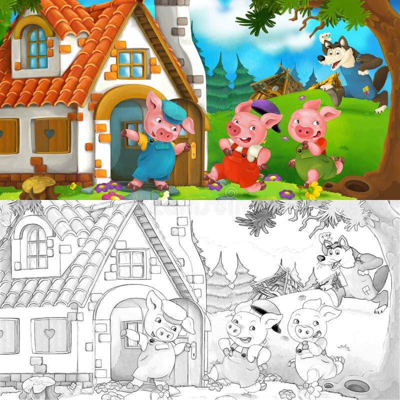 Σκηνή κινούμενων σχεδίων δύο χοίρων τρεξίματος στο σπίτι του αδελφού τους διανυσματική απεικόνιση