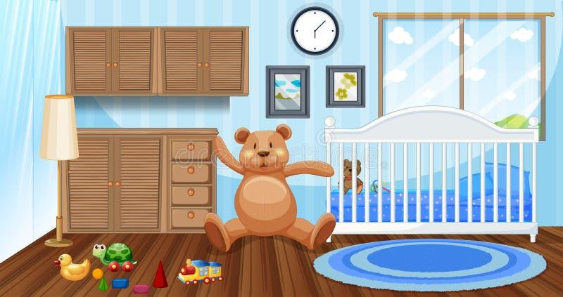 Σκηνή κρεβατοκάμαρων με το άσπρες babycot και τις κούκλες διανυσματική απεικόνιση