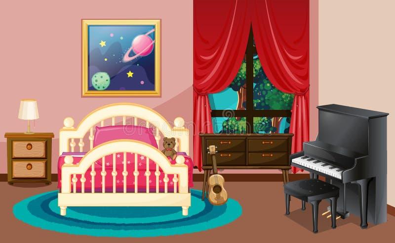Σκηνή κρεβατοκάμαρων με το πιάνο και το κρεβάτι διανυσματική απεικόνιση
