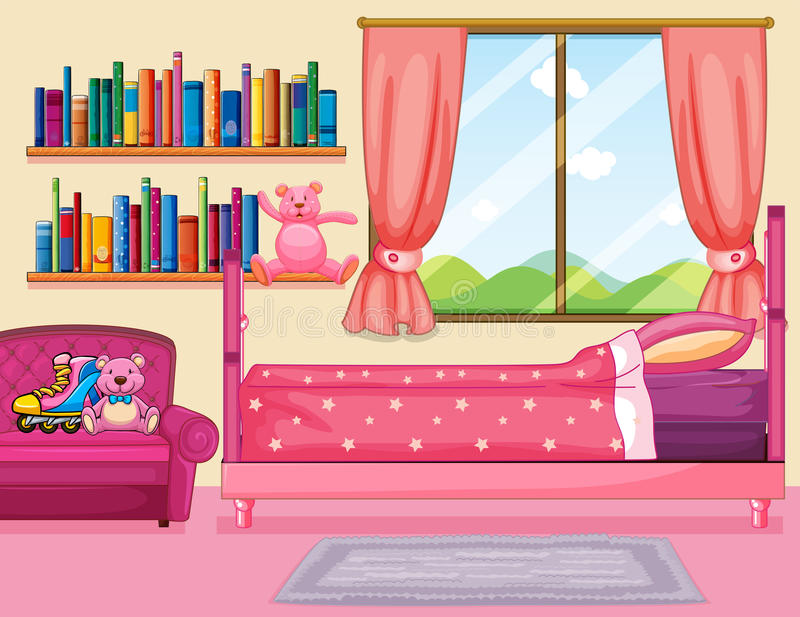 Σκηνή κρεβατοκάμαρων με το ρόδινο κρεβάτι ελεύθερη απεικόνιση δικαιώματος
