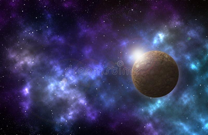 Σκηνή κόσμου με τους πλανήτες, τα αστέρια και τους γαλαξίες στοκ εικόνα με δικαίωμα ελεύθερης χρήσης