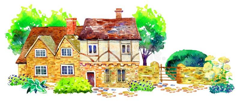 Σκηνή με τα δύο countryhouses, το φράκτη, τα δέντρα, Μπους και εγκαταστάσεις Παλαιό σπίτι της Ευρώπης πετρών Watercolor r ελεύθερη απεικόνιση δικαιώματος
