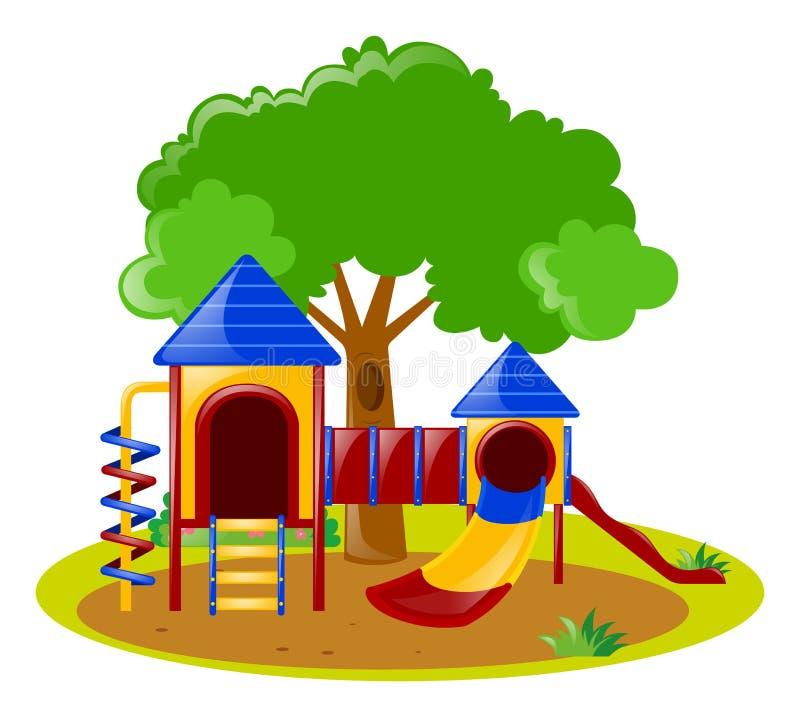 Σκηνή με την παιδική χαρά στο πάρκο απεικόνιση αποθεμάτων