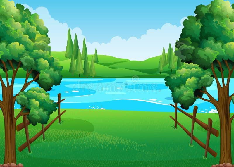 Σκηνή με τη λίμνη και τον τομέα απεικόνιση αποθεμάτων
