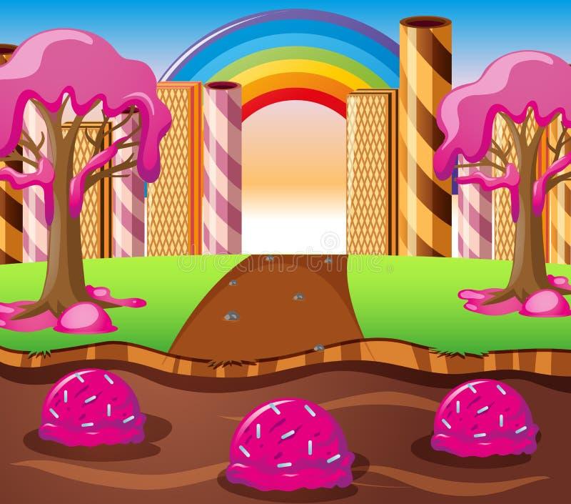 Σκηνή με τον ποταμό σοκολάτας και το δέντρο κρέμας φραουλών απεικόνιση αποθεμάτων
