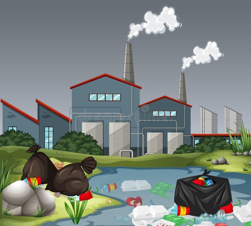 Σκηνή με το εργοστάσιο και τη ρύπανση των υδάτων ελεύθερη απεικόνιση δικαιώματος