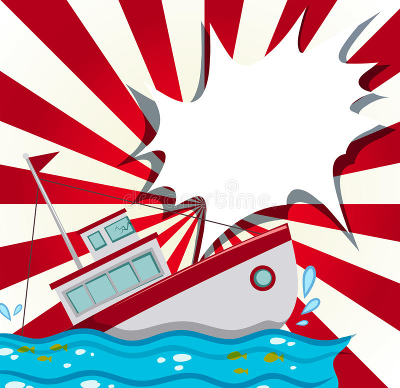Σκηνή με το ναυάγιο στον ωκεανό ελεύθερη απεικόνιση δικαιώματος