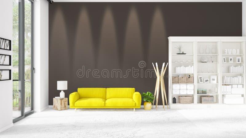 Σκηνή με το ολοκαίνουργιο εσωτερικό στη μόδα με το άσπρο ράφι και τον κίτρινο καναπέ στοκ φωτογραφία με δικαίωμα ελεύθερης χρήσης