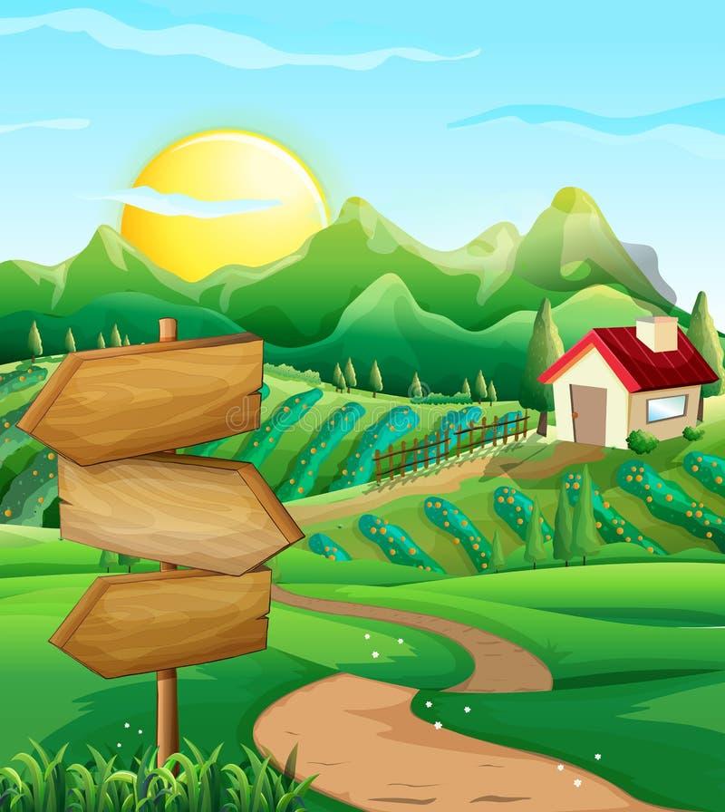 Σκηνή με το φυτικούς τομέα και την αυλή ελεύθερη απεικόνιση δικαιώματος