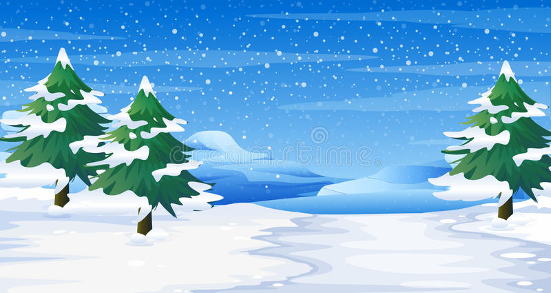 Σκηνή με το χιόνι στο έδαφος και τα δέντρα απεικόνιση αποθεμάτων