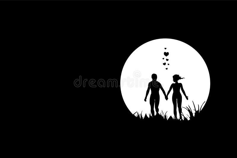 σκηνή νύχτας ζευγών διανυσματική απεικόνιση