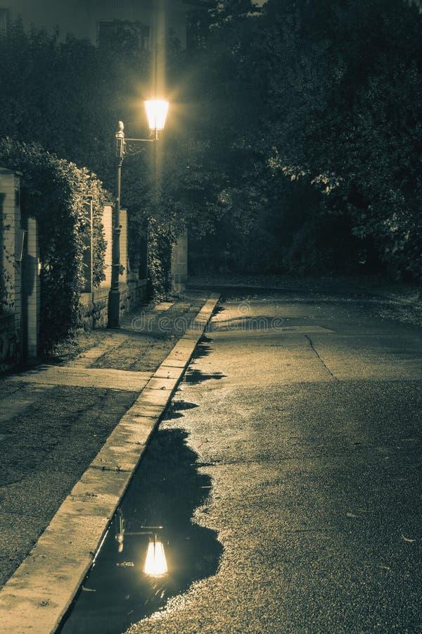 Σκηνή νύχτας μετά από τη βροχή - φω'τα φαναριών και λακκούβα, παλαιά οδός στοκ εικόνα