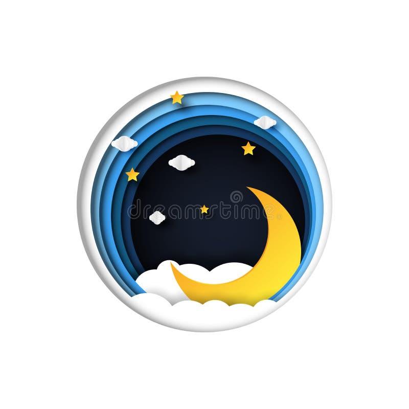 Σκηνή νύχτας με το ύφος τέχνης φεγγαριών και εγγράφου αστεριών ελεύθερη απεικόνιση δικαιώματος