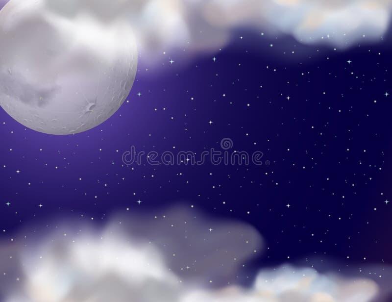 Σκηνή νύχτας με το fullmoon και τα αστέρια διανυσματική απεικόνιση