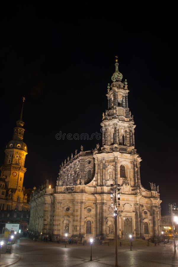 Σκηνή νύχτας στη Δρέσδη, στοκ εικόνες με δικαίωμα ελεύθερης χρήσης