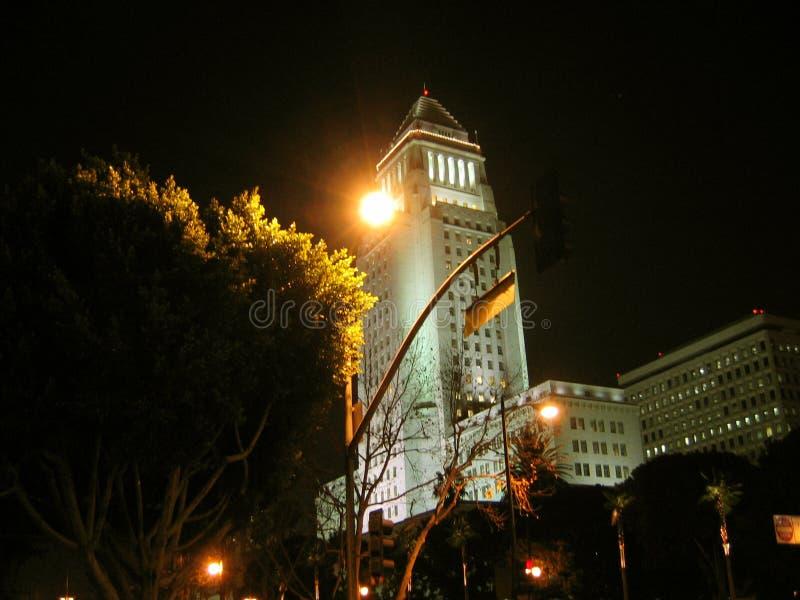 Σκηνή νύχτας του Λος Άντζελες Δημαρχείο στοκ εικόνες