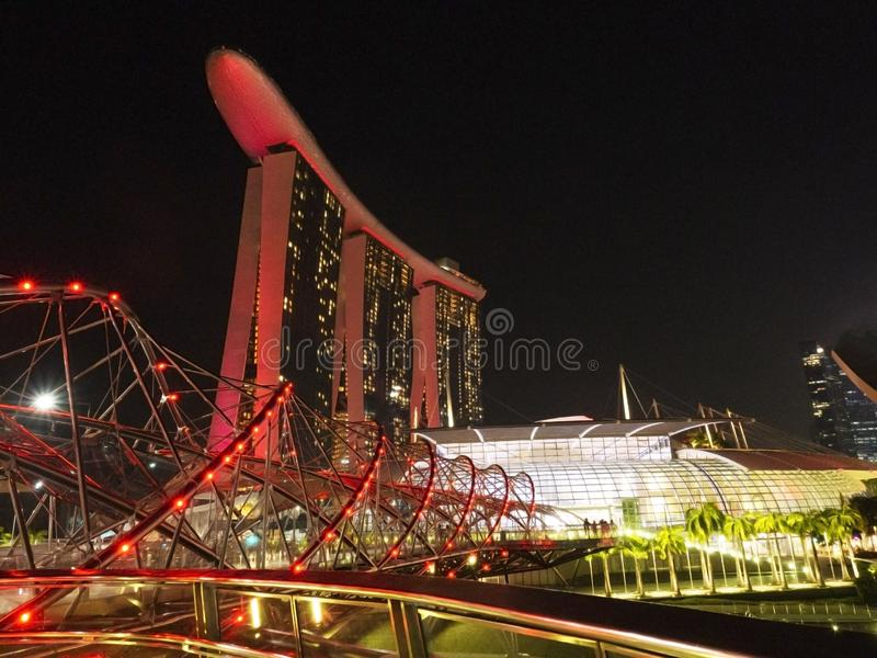 Σκηνή νύχτας των άμμων κόλπων μαρινών στον κόλπο μαρινών, Σιγκαπούρη στοκ εικόνες με δικαίωμα ελεύθερης χρήσης