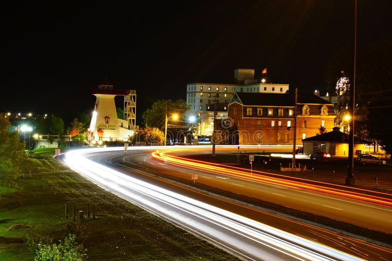 Σκηνή νύχτας Fredericton στοκ εικόνα με δικαίωμα ελεύθερης χρήσης
