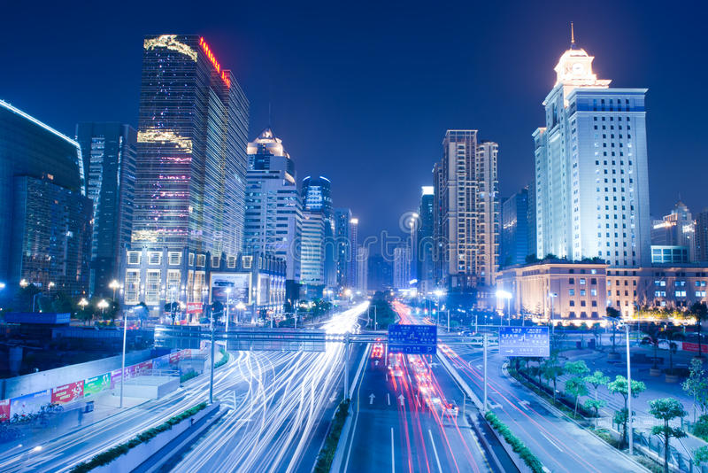 σκηνή νύχτας guanghzou πόλεων στοκ εικόνα με δικαίωμα ελεύθερης χρήσης