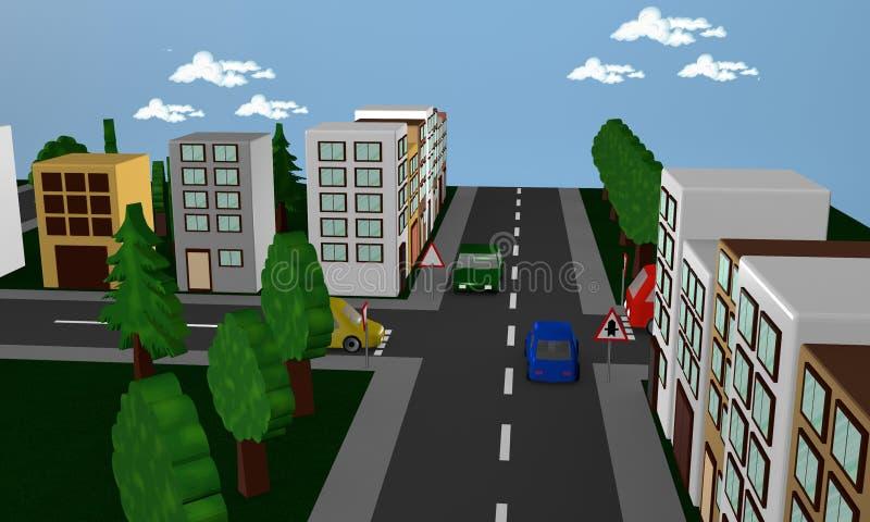 Σκηνή οδών με τα αυτοκίνητα, τα σπίτια και driveway σημαδιών κυκλοφορίας απεικόνιση αποθεμάτων
