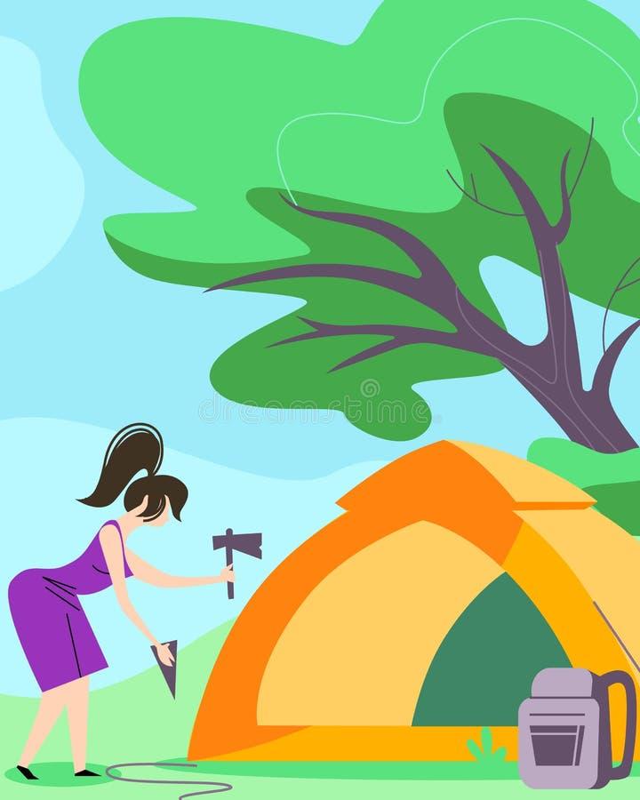 Σκηνή οργάνωσης γυναικών για τα έξοδα του χρόνου στην πεζοπορία στρατόπεδων ελεύθερη απεικόνιση δικαιώματος