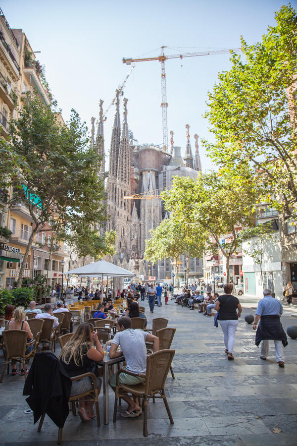 Σκηνή οδών στην κεντρική Βαρκελώνη Ισπανία στοκ φωτογραφίες