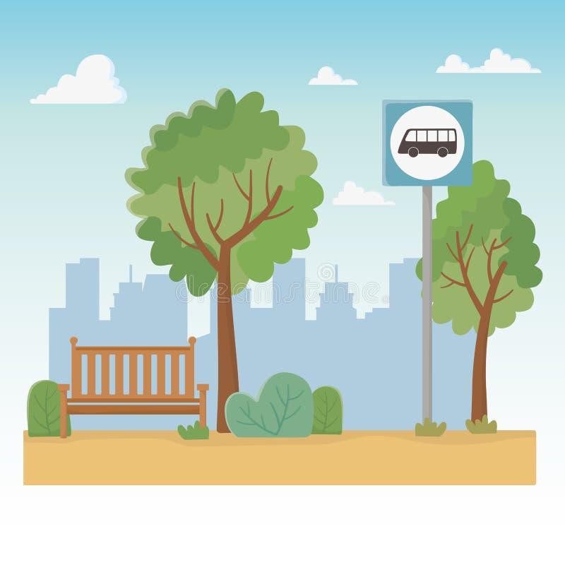 Σκηνή πάρκων πόλεων με την καρέκλα και τη στάση λεωφορείου απεικόνιση αποθεμάτων