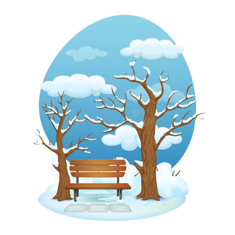 Σκηνή πάρκων χειμερινής ημέρας Ξύλινος πάγκος με τις πλάκες πετρών σε ένα χιονώδες έδαφος διανυσματική απεικόνιση