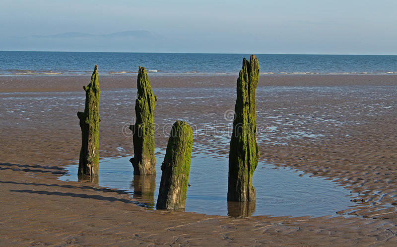 Σκηνή παραλιών, κοντά σε Silloth, Cumbria, περιοχή λιμνών στοκ εικόνες