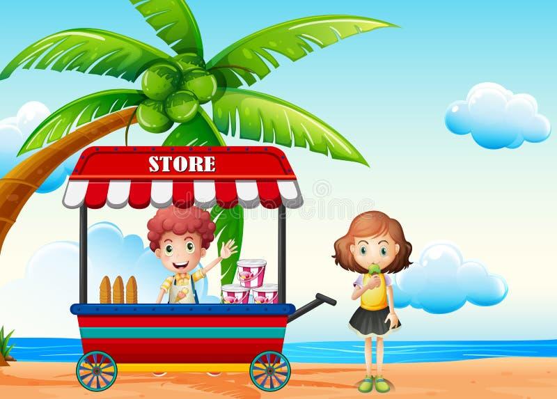 Σκηνή παραλιών με το αγόρι και το κορίτσι στον προμηθευτή τροφίμων απεικόνιση αποθεμάτων